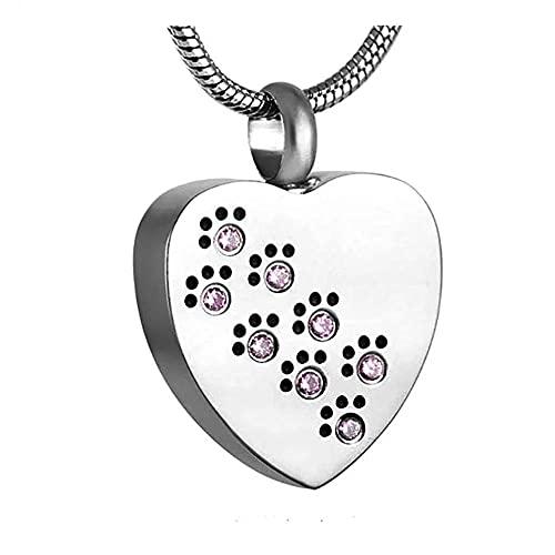 KBFDWEC Heart Love Pet Paw Print Urna Collar Cenizas Titular Recuerdos de cremación