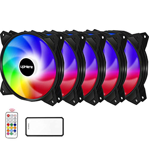 upHere 5-Pack 120mm Silent Intelligent Control RGB Fan Adjustable Colorful Fans with Controller and Remote,PF1206-5