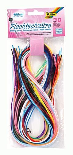 folia 731030 - Flechtschnüre, opak/transparent, 30 Stück sortiert in 10 verschiedenen Farben - ideal zum Flechten von Armbändern, Schlüsselanhängern, usw.