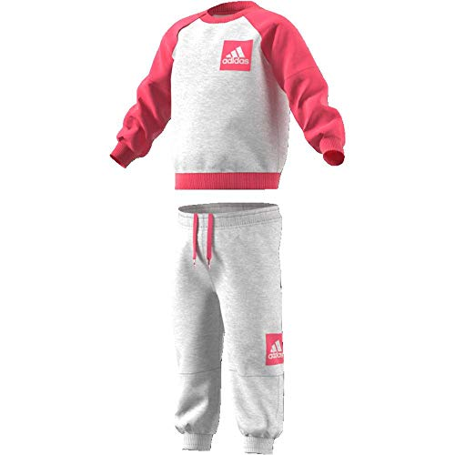 adidas Kinder Fleece Jogginganzug Trainingsanzug, Lgreyh/Reapnk, 98
