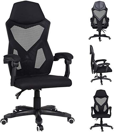SCYMYBH Sillas de Oficina, Que compite con Silla de Juego Ajustable del Respaldo y Altura sillas reclinables giratoria Adecuada for la Malla (Color : Black)
