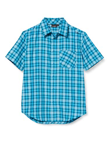 CMP Short-Sleeved Shirt with Pocket Chemise Homme, Blue Teal-Light Blue, 52