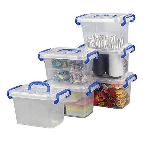 EudokkyNA 2 L Clear Latch Storage Box Set of 6 Storage Bin Containers with Handle