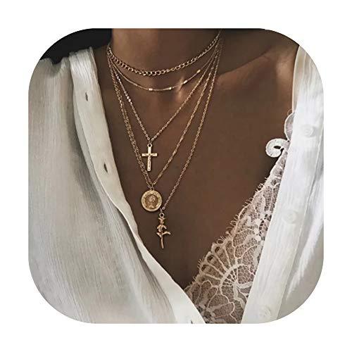 Frauen Boho Charme Colliers Mode Halsketten Multi Schicht. Halskette 5 Stücke Layered Choker Halskette für Damen Mädchen Münze Rose Kreuz Multilayer Kette Halsketten Set Einstellbar (Gold 1).