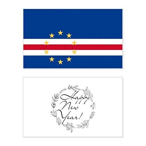 Kaapverdië Nationale Vlag Afrika Land Nieuwjaarskaart Herdenkingsbericht Zegen