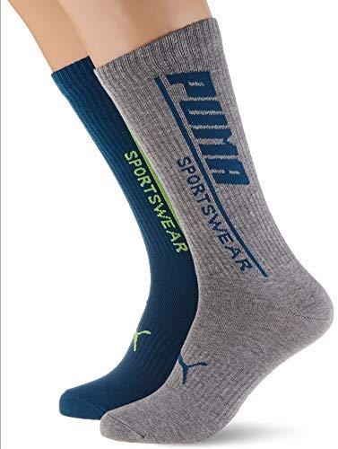 PUMA Mens Seasonal Men's Sportswear (2 Pack) Casual Sock, Petrol Blue, 39/42 (2er Pack)