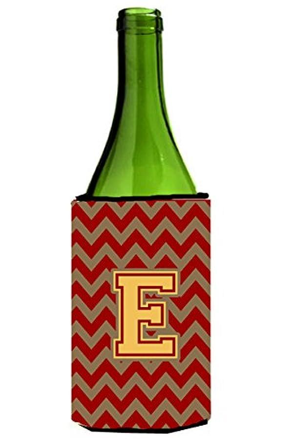 Letter E Chevron Garnet and Gold  Wine Bottle Beverage Insulator Hugger CJ1048-ELITERK venjqmxp83865