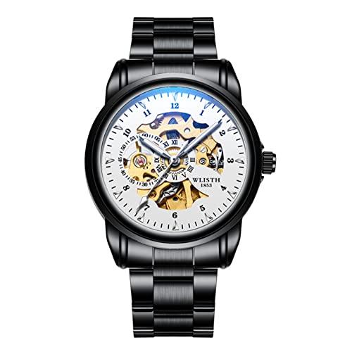 GDHJ Reloj mecánico de esfera hueca transparente para hombre, 3 ATM, resistente al agua, luminoso, de acero inoxidable, casual, de negocios, para jóvenes, color blanco