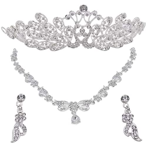Bieuward La Hermosa Corona, un Conjunto de Tres Coronas de Boda, una Broca de Agua de un Anillo de Plata y un Collar