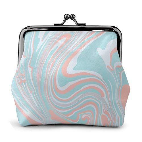 Aqua Coral Swirl Marmor Münztasche Leder Wechselgeldbörse Kiss Verschluss Schloss Mini Kosmetik Make-up Taschen für Frauen und Mädchen