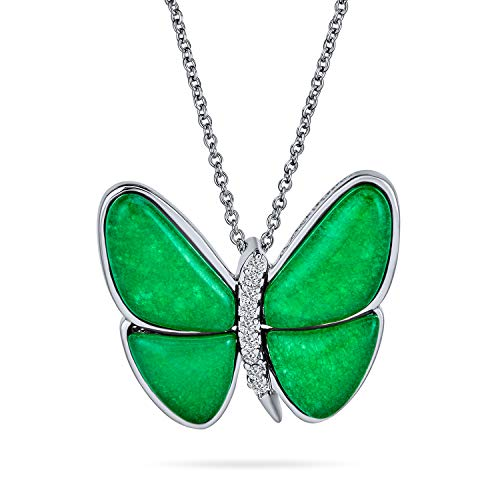 Bling Jewelry Mariposa Teñido De Verde Jade 925 Plata De Ley 925 Jardín Colgante Collar De Mujer...