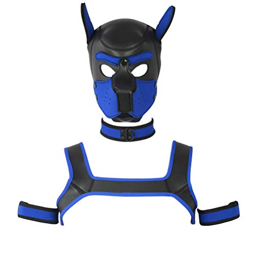 FeiGu 4 Sets Neoprene Puppy Hood, Unisex Costume Dog Head Mask with Collar, Armbands and Shoulder Strap