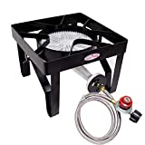 Gas ONE 200,000 BTU Square Propane Burner Outdoor Stove Propane Gas Cooker with Adjustable 0-20PSI Regulator and Steel Braided Hose Perfect for Home Brewing, Turkey Fry, Maple Syrup Prep (Renewed)