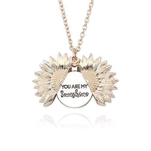 Sunflower Necklace for Women Engraved You are My Sunshine (Rose Gold)