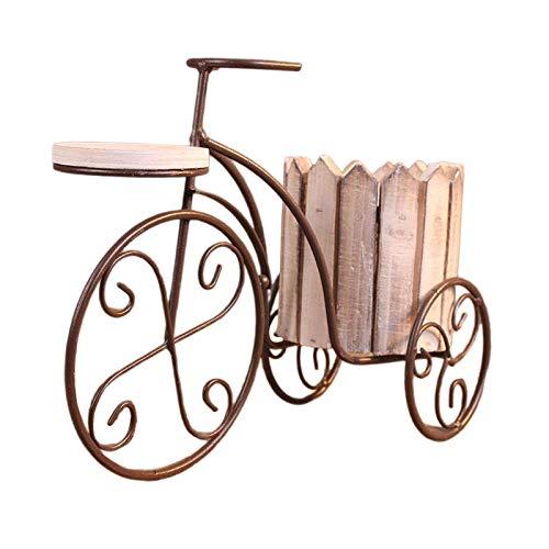 Tubayia Maceta de hierro para bicicleta, maceta, macetero, decoración para casa, balcón, oficina, color blanco