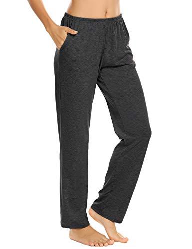 Pyjamahose Damen Baumwolle Schlafanzughose lang Unifarbe Schlafanzug Hosen Freizeithosen Hausehose Schlafhose Yogahose mit Zwei Taschen Grau XXL