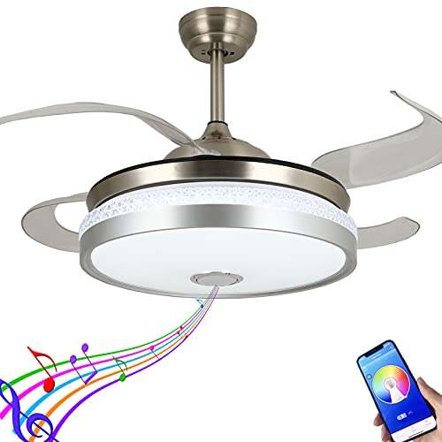 Modern Ceiling Fan Retractable Blades with Light and Bluetooth Speaker,Silent Motor LED Bluetooth Fan Chandelier 7 Color Lighting for Dining Room/Bedroom
