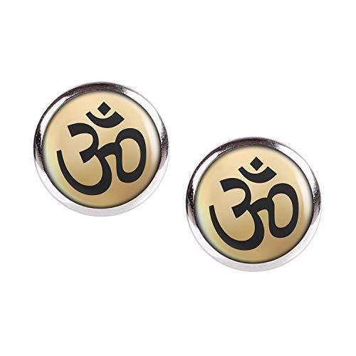 Mylery Ohrstecker Paar mit Motiv Om-Zeichen Buddha Hindu Gold silber 12mm