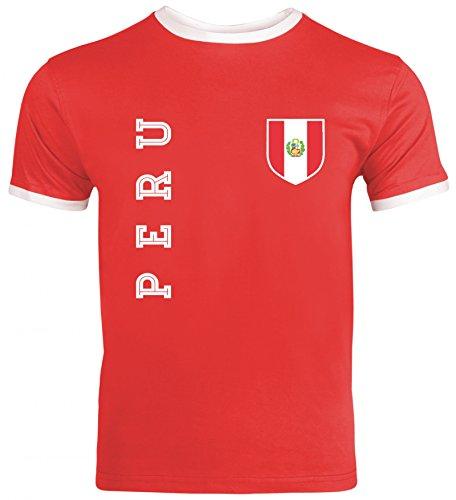 Wappen Fußball WM Fanshirt Gruppen Herren Männer Ringer Trikot T-Shirt Fan Trikot Peru, Größe: M,Red/White