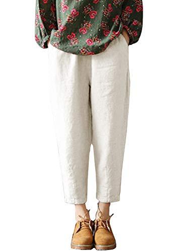 Damen Hose Sommer Casual Stoffhose Haremshose Einfarbig Freizeithose Elastisch Bund Leinenhose Mit Taschen (241-Weiß, X-Large)