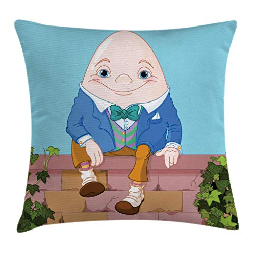 Ambesonne Alice in Wonderland Throw Pillow Cushion Cover, Egg Humpty Dumpty Sitting on Brickwork Wall in Colorful Cartoon Style, Decorative Square Accent Pillow Case, 16