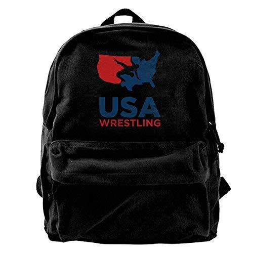 NJIASGFUI Canvas Rucksack USA Wrestling Rucksack Gym Wandern Laptop Schultertasche Daypack für Männer Frauen