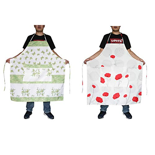 FBTS Basic Plus Size Adjustable Aprons 2 Packs with Extra Long Tie and Two Big Front Pockets Water Resistant Oversized Apron For Women And Men