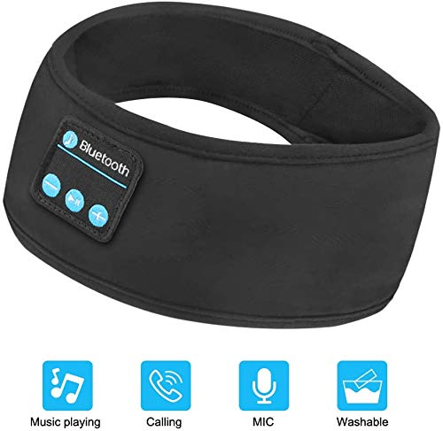Guiseapue Schlaf Kopfhörer Bluetooth Schlafmaske V5.0 Sport Stirnband Kopfhörer mit Ultradünnen HD Stereo Lautsprecher,Perfekt für Sport, Seitenschläfer, Flugreisen, Meditation und Entspannung