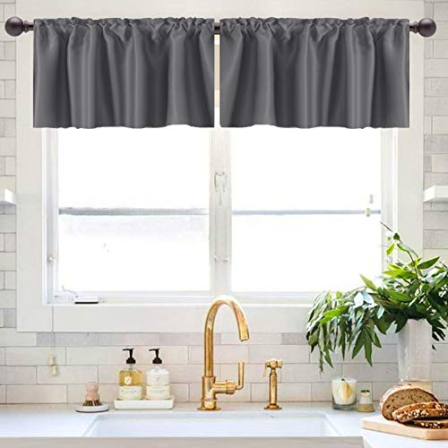 """Caudblor Blackout Valances for Kitchen Living Room Bedroom Window Curtain Toppers Solid Short Rod Pocket Valance, 52"""" x 18"""", Gray, 2 Panels"""