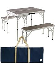 アウトドア テーブル 折りたたみ アルミ ピクニック テーブル 収納袋 チェア 付き ALPT-90