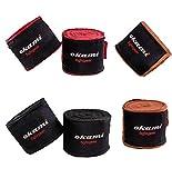 OKAMI Fightgear Handbandagen teilelastisch - 4,60m - Boxbandagen MMA Boxen Bandagen Wickelbandagen Boxen Muay Thai (Schwarz)
