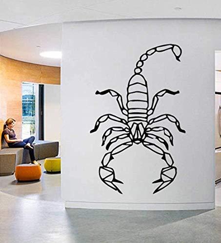 Pegatinas de pared Calcomanía de escorpión de animales geométricos Vinilo de pared extraíble Origami Patrón Calcomanías de pared Decoración para el hogar Dormitorio de los niños extraíble 42X66Cm