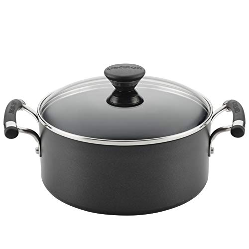 Circulon Acclaim Hard Anodized Nonstick Casserole Dish/ Casserole Pan / Dutch Oven with Lid - 5 Quart, Black