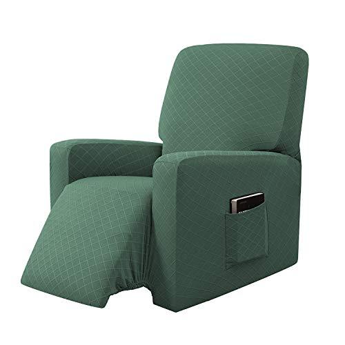 E EBETA Sessel-Überwürfe Sesselschoner, Stretchhusse für Relaxsessel Komplett, Schutzhülle aus elastischem Sessel Ohrensessel (Olivgrün)