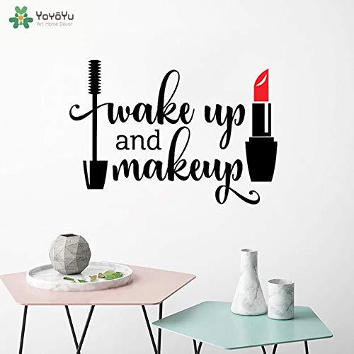 Word wakker en maak vinyl muurstickers waterdicht mascara lippenstift lippenstift schoonheidssalon decoratie 57x40cm