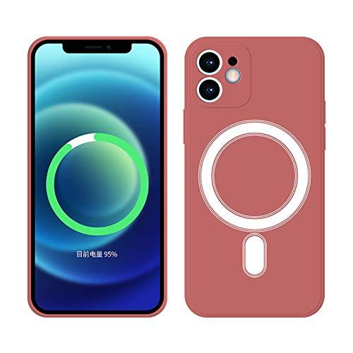 CYXYX para Apple 12 Pro Max con anillo magnético Funda de teléfono móvil de silicona de líquido magnético antialérgico, condón de carga inalámbrica para MAGSAFE