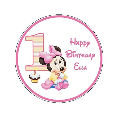 Phenomenal Baby Minnie Mouse 1St Birthday Novelty 7 5 Round Edible Birthday Funny Birthday Cards Online Inifodamsfinfo