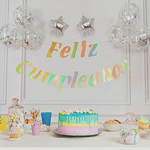Guirnalda de Feliz Cumpleaños de Letras con Globos de Confeti y Estrellas, Decoración de Fiesta de Cumpleaños de Colores (Globos Plateados)