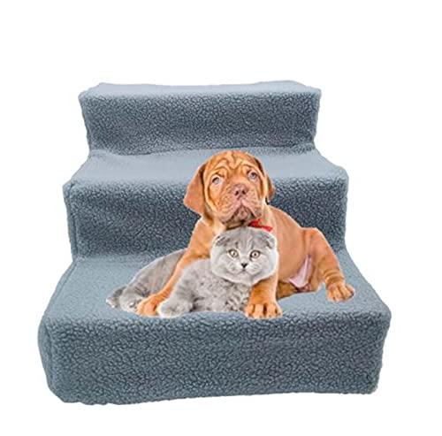 Hengz Escalera extraíble para perros y mascotas, 35 x 45 x 30 cm, cubierta de tela de felpa para cama alta de 3 pasos, escalera portátil para perros pequeños, color gris
