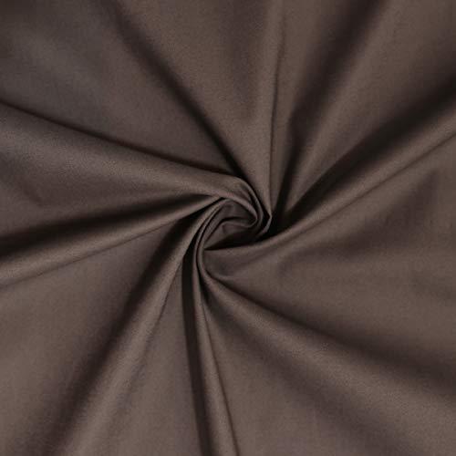 TOLKO Bauwollstoffe brauner Sommer Batist aus 100% Baumwolle   weicher Nesselstoff als Modestoff Kleiderstoff Dekostoff   Meterware zum Nähen/Dekorieren (Dunkel Braun)