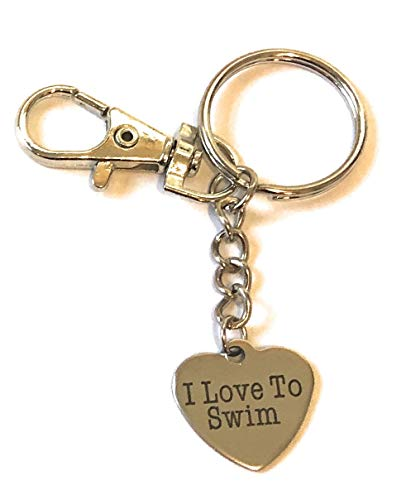 FizzyButton Gifts Stainless Steel I Love To Swim Keyring / Handbag Charm in Turquoise Gift Box