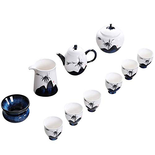 NOSSON Juegos de té con Tetera, Juego de té de Porcelana Tazas de té Gaiwan de Ceremonia del té Tetera Tetera de cerámica de Porcelana Vintage Hecha a Mano Juego de té Kung Fu para el hogar