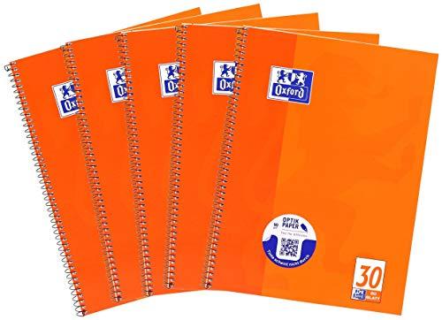 Oxford Quaderno scolastico formato A4, bianco, 80 fogli, confezione da 5
