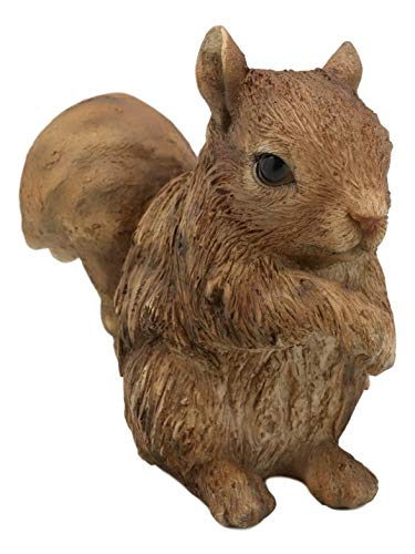Realistic Faux Driftwood Finish Design Standing Chipmunk Squirrel Resin Figure - Favorite Decor Store