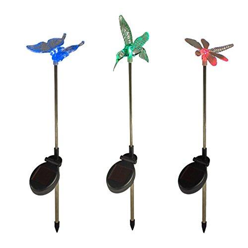 Lights4fun 3er Set Solar Stableuchten Gartendeko Libelle Kolibri Schmetterling
