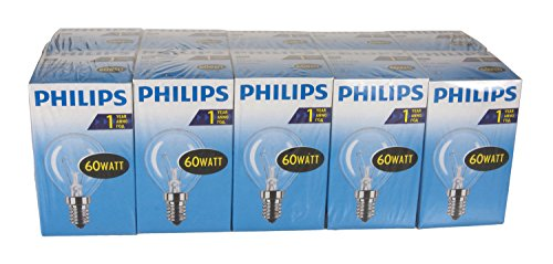 Philips  30600023 Glühlampe Tropfenform, 60 Watt, E14,  10er, Transparent