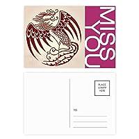 中国のフェニックス動物の肖像画 ポストカードセットサンクスカード郵送側20個ミス