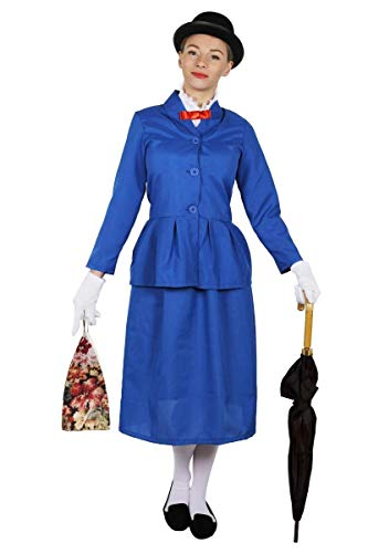 ILOVEFANCYDRESS Disfraz DE NIÑERA Victoriana para Mujer + BOMBÍN + Bolsa TV PELÍCULA Personaje Libro Semana Chaqueta Azul con Cuello Blanco Adjunto Y Pajarita ROJA Y Falda Larga Azul (X-Grande)
