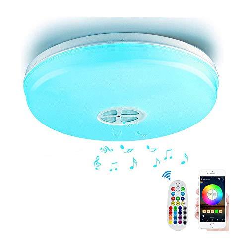 Nicetai Plafon WiFi Techo LED con Altavoz Bluetooth,Music RGBW LED Lámparas con APP, Funciona con Alexa, Google Home (24W-WiFi-BT-RGBW-36CM)