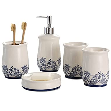 NarwalDate Bathroom Accessory Set Storage & Organization Ceramic 5 pieces Set,Including Toothbrush Holders,2 Gargle Tooth-brushing Cups,Soap Dishes,Soap & Lotion Dispenser Pump Blue